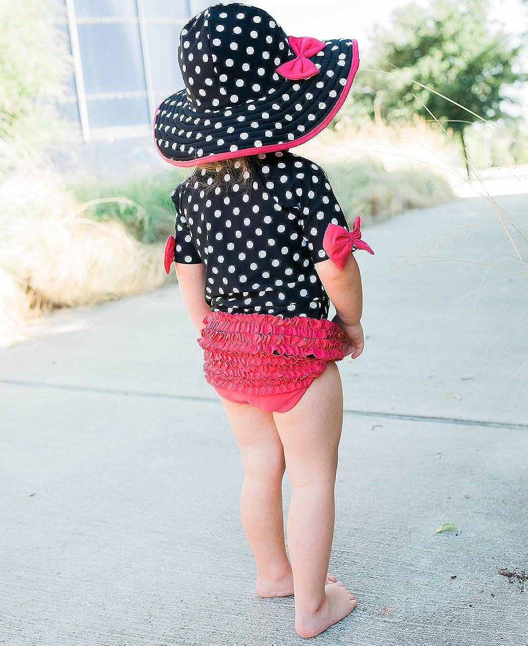Sun Protection GSET2XX-SWIM-SC-TDLR RuffleButts Little Girls Short Sleeve Ruffled Rash Guard and Swim Hat Set UPF 50