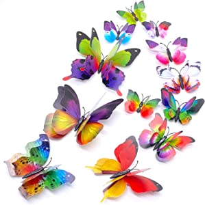 24PCS Butterfly Wall Decals,3D Butterflies Wall Stickers Removable Mural Wall Stickers Art Decor for Home,Kids Girls Room Decor Party Supplies Decorations (Rainbow)