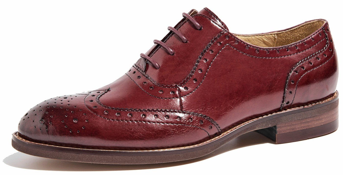 U-lite Burgundy Women Brogues Lace-up Wingtip Leather Flat Oxfords Vintage Oxford Shoe Bur 8.5