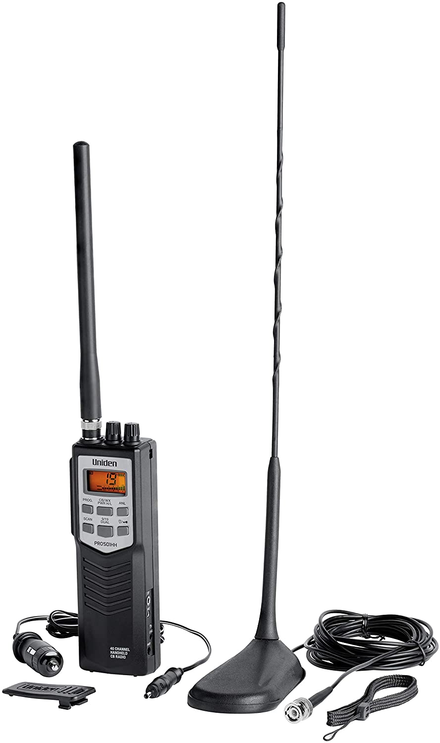 Auto Noise Limiter Two-Way Emergency Radio and Full Channel Scan NOAA Weather Uniden PRO501TK Pro-Series 40-Channel Portable Handheld CB Radio Includes High-Gain Magnet Mount Antenna