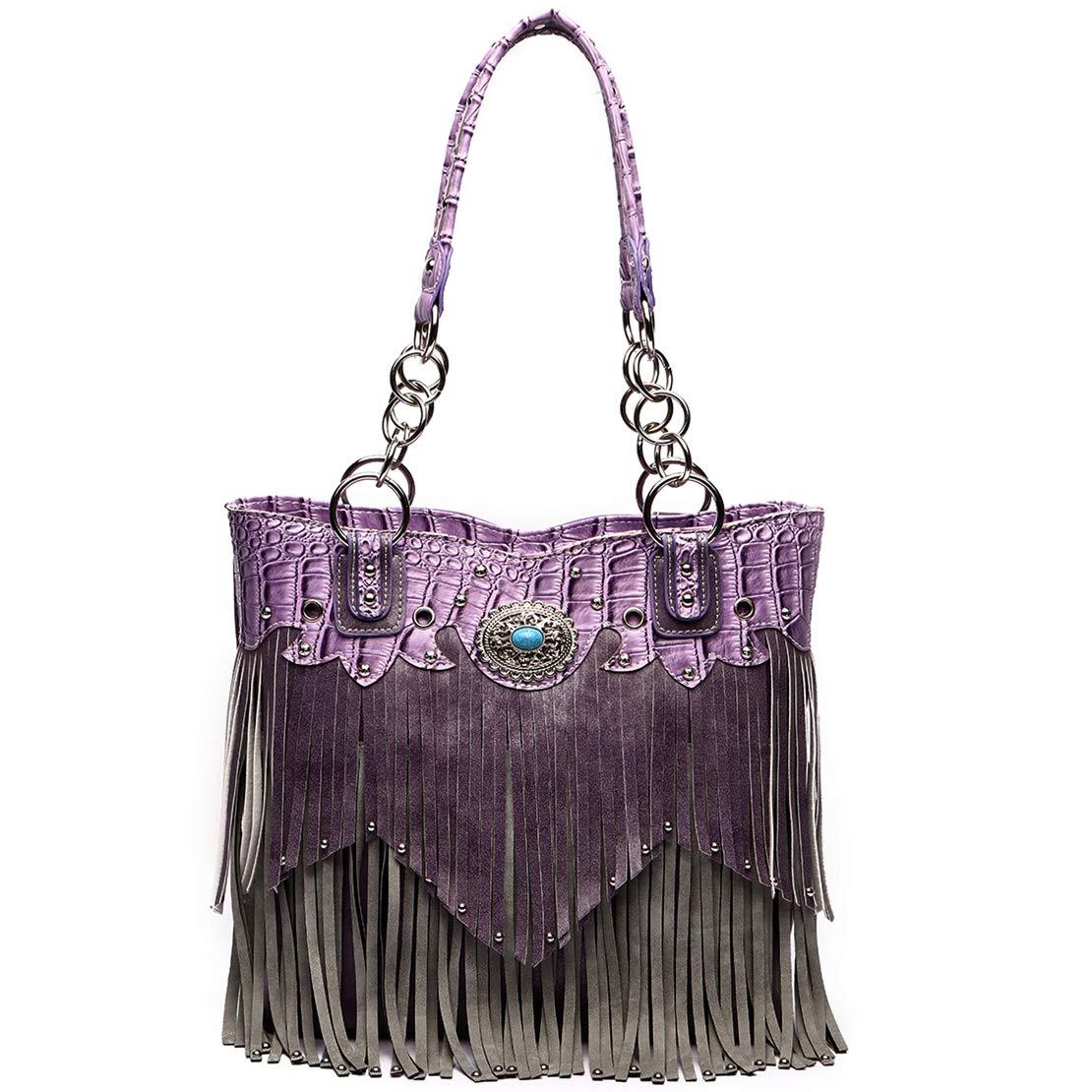 Western Style Fringe Handbag Concealed Carry Purse Country Large Tote Conchos Purse Women Shoulder Bag (Purple)