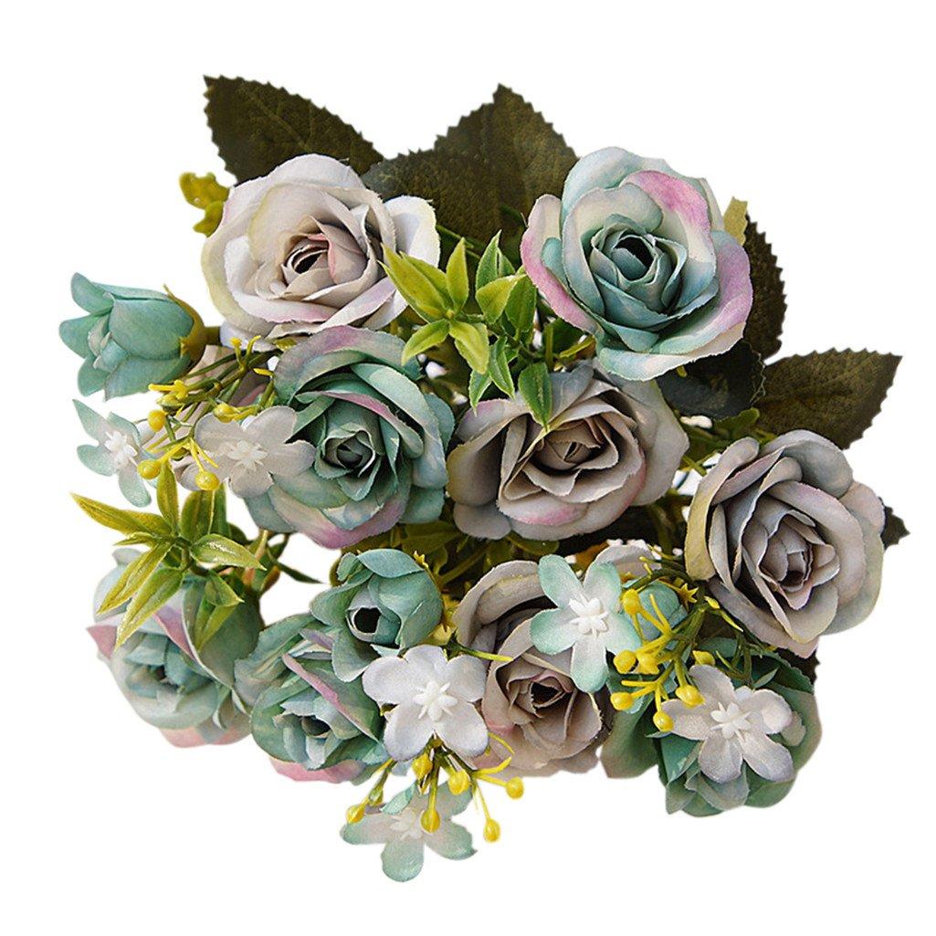Pengyu 1  Bouquet 15  t ê tes Style europ é en Royal artificielles Rose  Home Fleurs ... 6f3b00be622