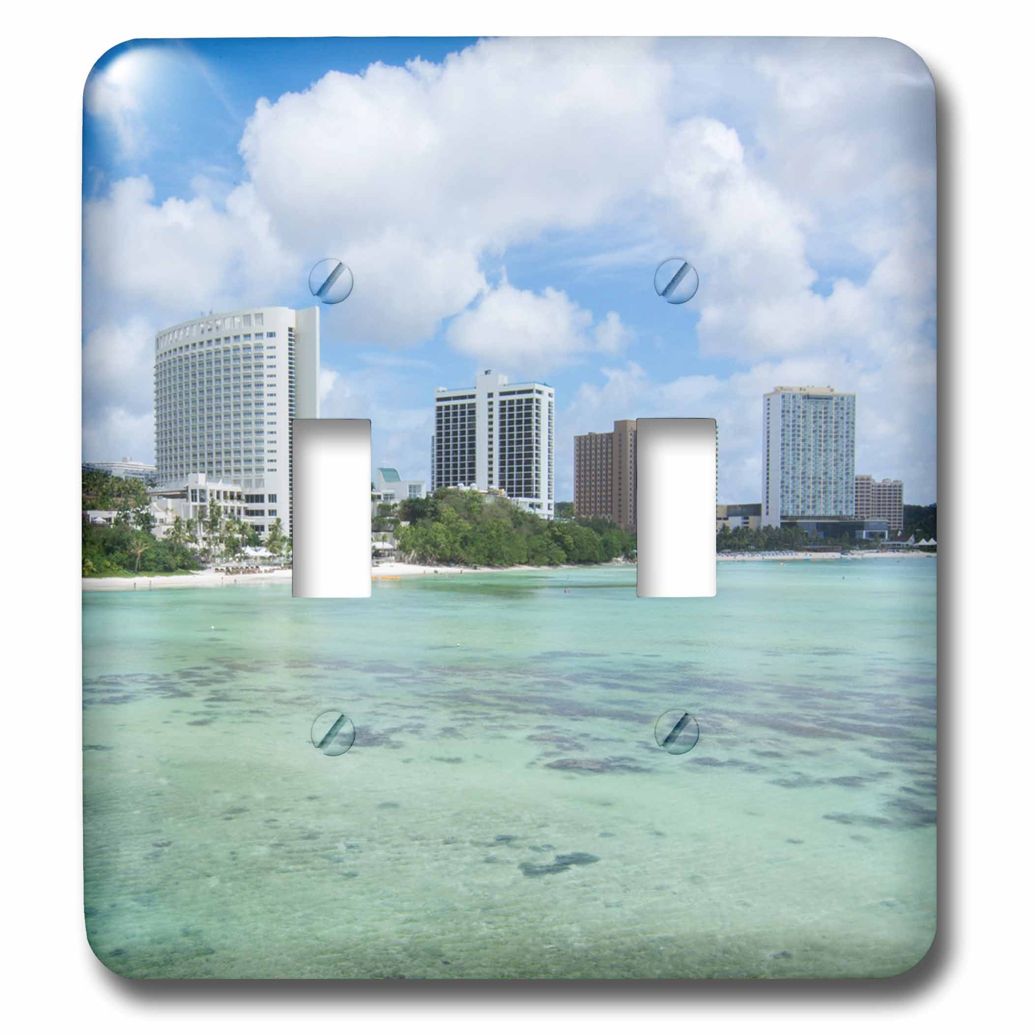 3dRose Danita Delimont - Cities - Guam Territory. Hotels line beach with clear tropical waters. - Light Switch Covers - double toggle switch (lsp_278126_2)