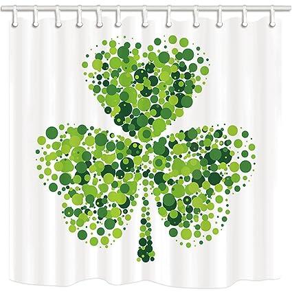 NYMB Green Clover Leaves Shower Curtains For Bathroom Shamrock Leaf On White Saint Patricks