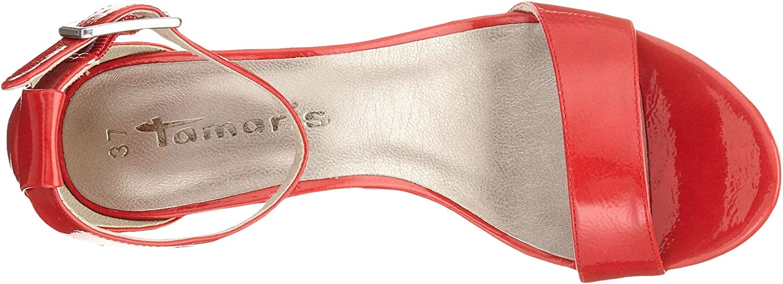 Tamaris 1-1-28018-22, Sandales Bride Cheville Femme Rouge Fire Patent 632