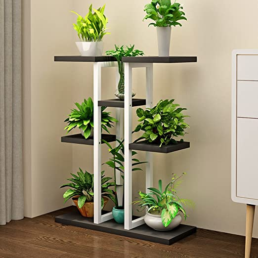LIANGLIANG Estante para macetas, estante para plantas, escalera, expositor de suelo, plancha + tablero de partículas, balcón simple sala de estar, interior, 8 colores, 2 tamaños: Amazon.es: Jardín
