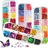 Kalolary 4boxes Butterfly Nail Art Glitter Sequins, Laser Nail Art Flake Acrylic Paillettes, Holographic 3D Thin Star…
