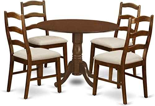 DLHE5-ESP-C 5 Pc set Table with 2 drop-leaf 9in and 4 Chairs in Espresso .