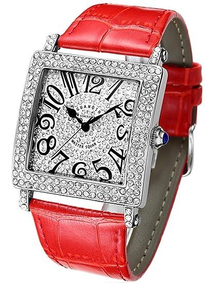 Lujoso reloj de cuarzo analógico de cuarzo para mujer con diamantes cuadrados y estilo informal: Amazon.es: Relojes