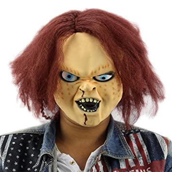 shuzhen,Mascara de Latex de Terror para niños Jugar Chucky Figuras de acción Masquerade Halloween Party Bar(Color:De Color Rojo - Marron): Amazon.es: Hogar