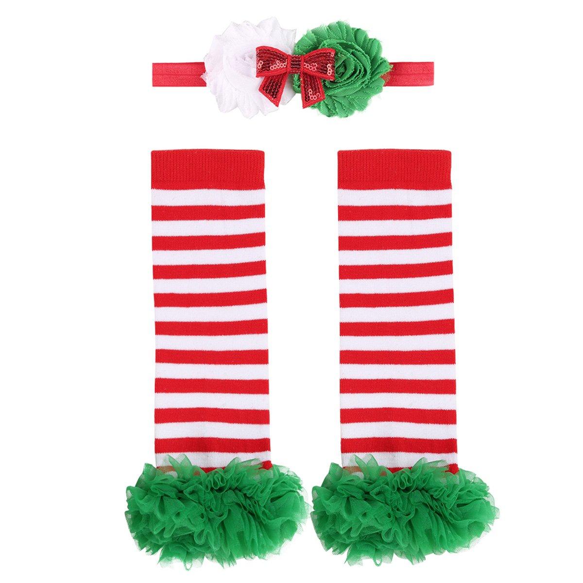 iiniim Infant Baby Girls Christmas Outfit Headbands with Leg Warmers Leggings Tights