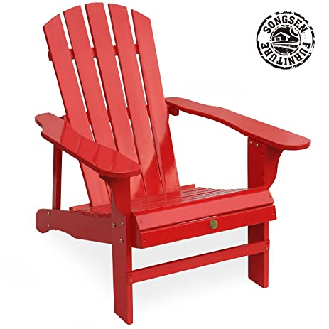 Songsen Outdoor Log Wood Adirondack Lounge Chair Patio Deck Garden  Furniture   Red