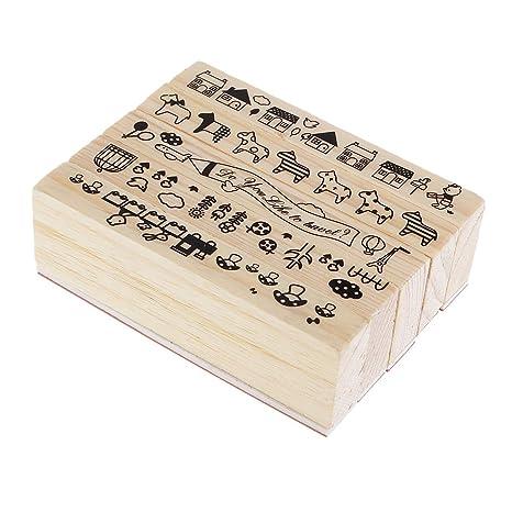 B Baosity Conjunto de Sellos de Madera Apto para Escribir ...