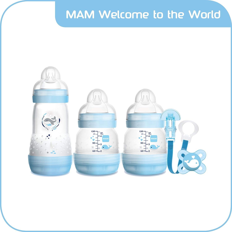 MAM Bienvenido al mundo fijó incluye Botellas, Chupete y Clip (Azul), 1 unidad [modelos surtidos]
