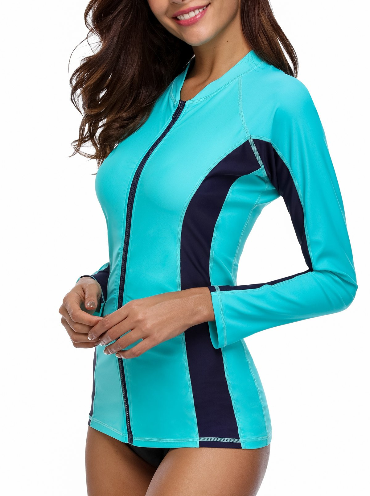 ATTRACO Long Sleeve Sporty Swim Shirt Womens Rashguard Tops Aqua Large by ATTRACO (Image #3)