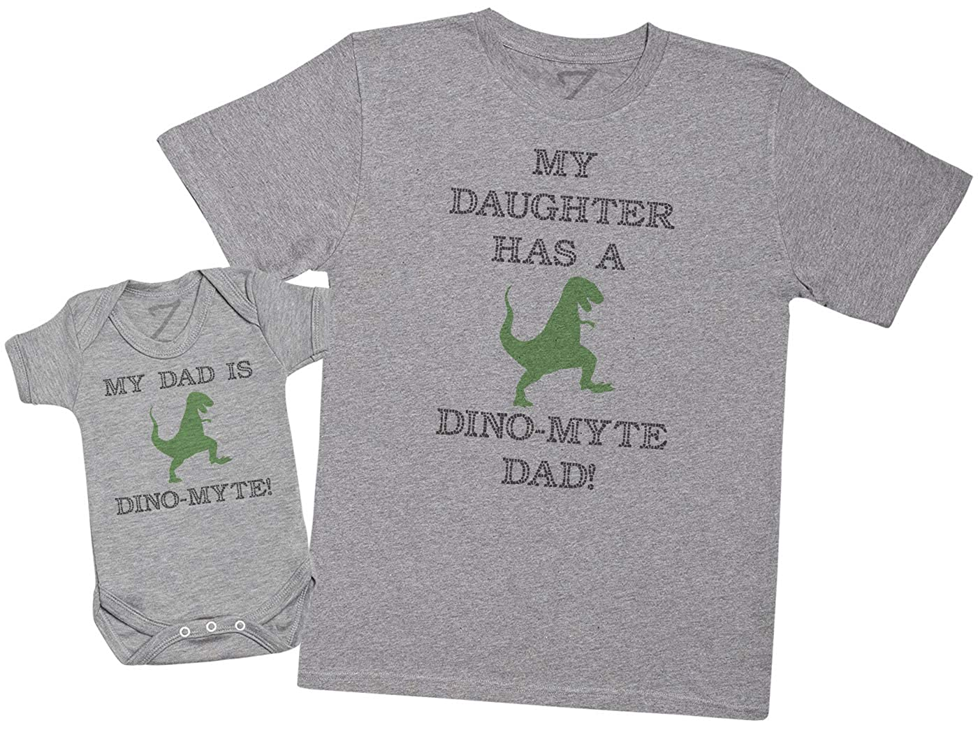 Zarlivia Clothing My Daughter Has A Dino-Myte Dad - Matching Father Baby Gift Set - Mens T Shirt & Baby Bodysuit - Grey - X-Large & 6-12 Months