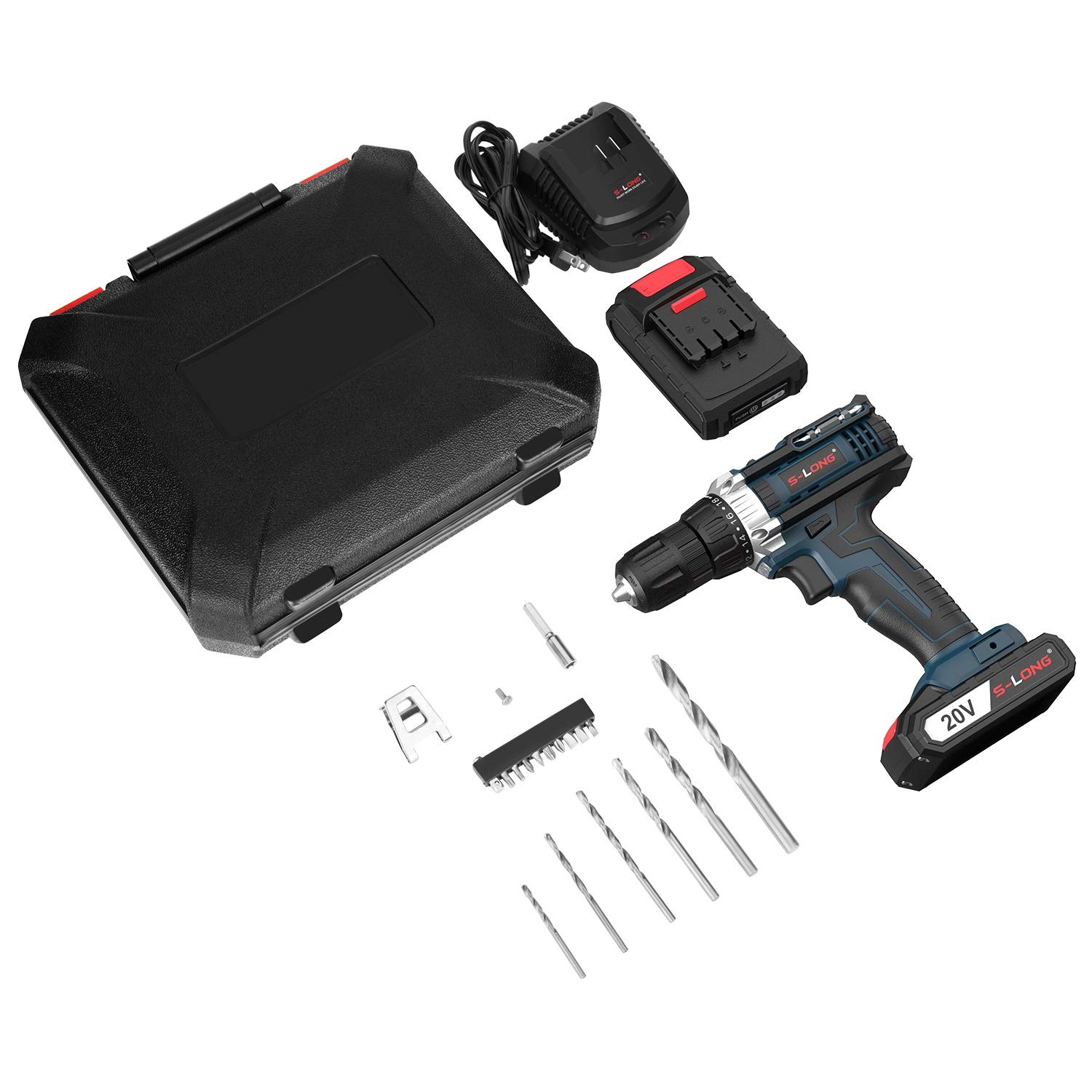 20V/ Cordless/ Drill/ with/ 2/ Batteries/ and/ Charger,1//2/ Inch/ Cordless/ Drill/ Set,Variable/ Speed/ Drill/ Driver/ Cordless/ by/ S-LONG