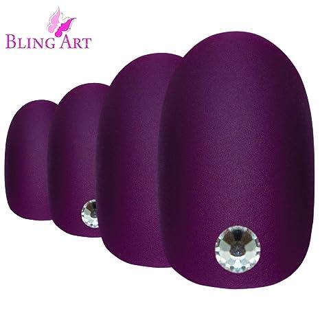 Uñas Postizas Bling Art Púrpura Matte Ovale 24 Medio Falsas puntas acrílicas con pegamento