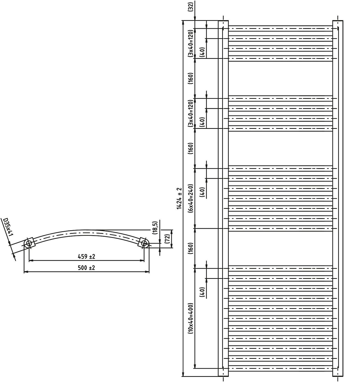 Heizk/örper Badheizk/örper rein elektrisch mit analogem Thermostat ELEKTRO anthrazit gebogen 764 x 500