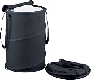Organize It All Collapsible Portable Laundry Hamper with Zippered Top and Handles (Black)