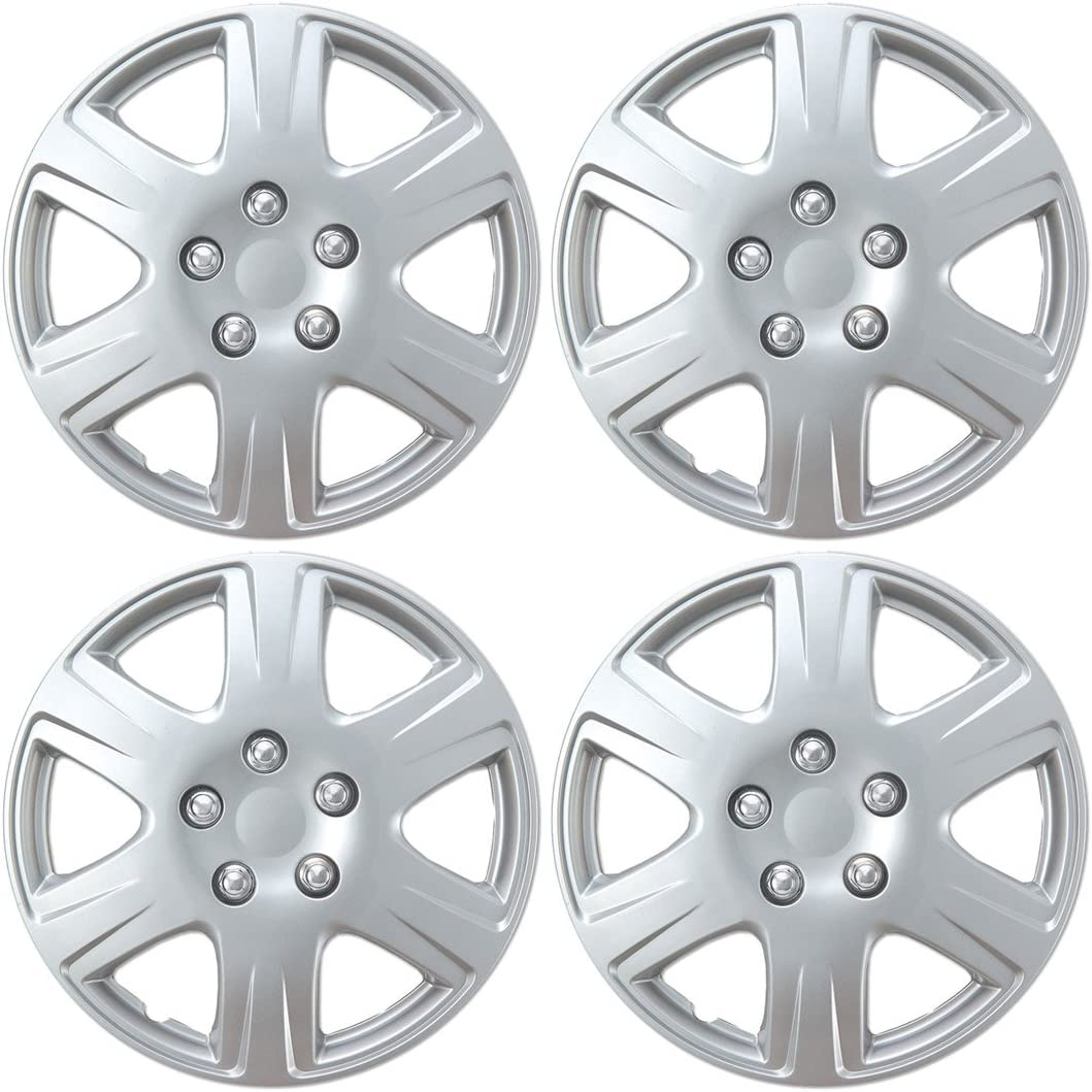 "BDK HK993 15"" Silver Hubcaps Wheel Covers for Toyota Corolla (15 inch) – Four (4) Pieces Corrosion-Free & Sturdy – Full Heat & Impact Resistant Grade – OEM Replacement, 4 Pack"
