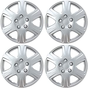 """BDK HK993 15"""" Silver Hubcaps Wheel Covers for Toyota Corolla (15 inch) – Four (4) Pieces Corrosion-Free & Sturdy – Full Heat & Impact Resistant Grade – OEM Replacement, 4 Pack"""