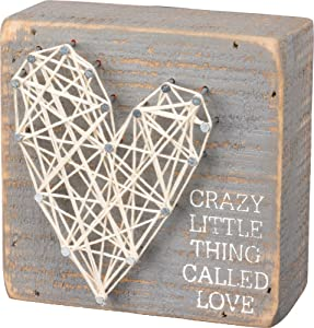 Primitives by Kathy String Art Box Sign, 4 x 4-Inches