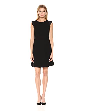 553a3a886 Tommy Hilfiger Women's Satin Back Crepe Flutter Sleeve Dress, Black, ...