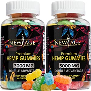(2 Pack) New Age Naturals Advanced Hemp Big Gummies 3000mg 120ct - 100% Natural Hemp Oil Infused Gummies