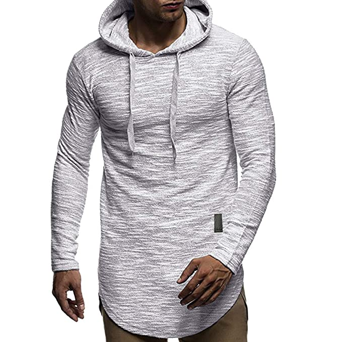 Amazon.com: Mens Autumn Long Sleeve Hoodie Lightweight Solid Color Hooded Sweatshirt Outwear Tops: Sports & Outdoors