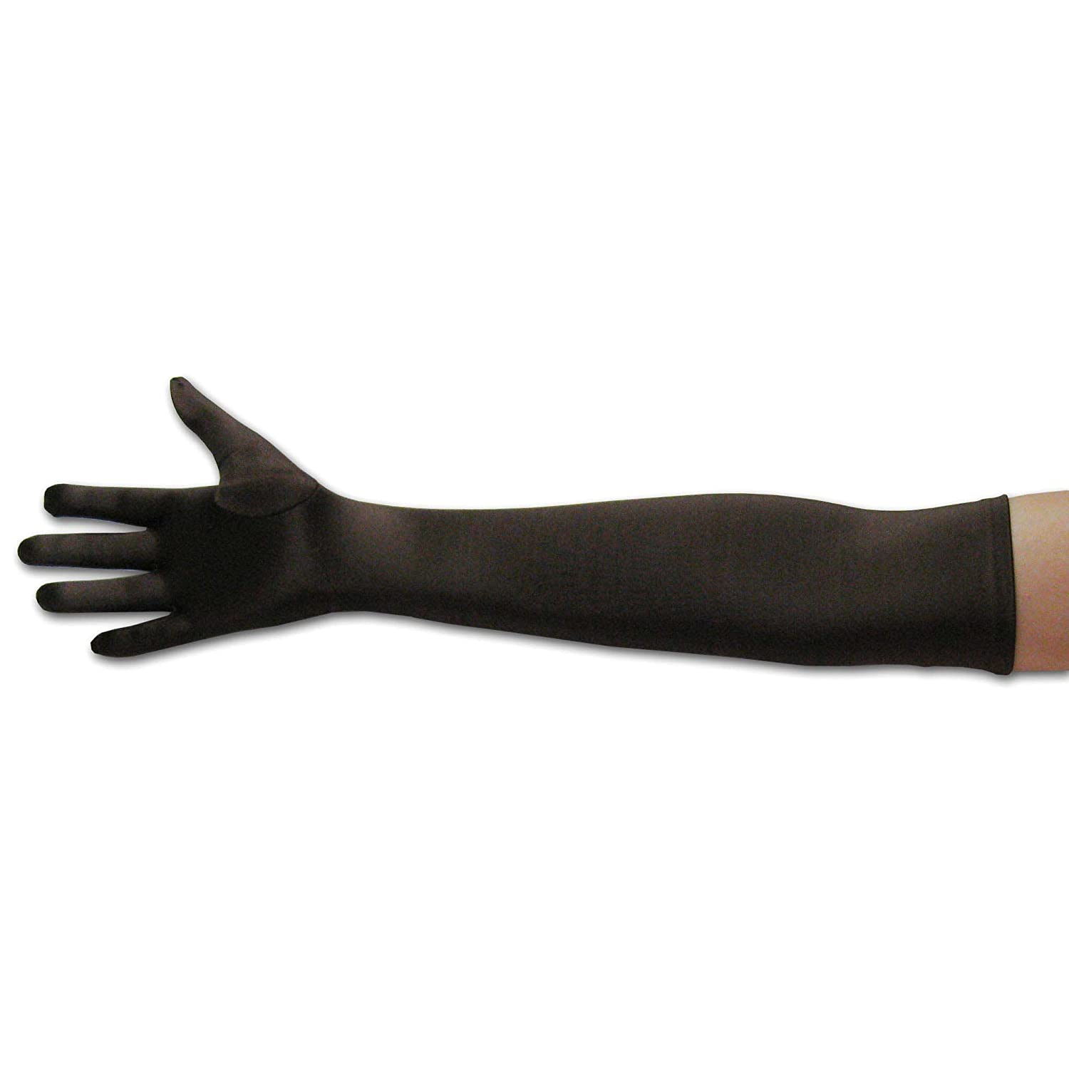 22 Classic Adult Size Opera Length Satin Gloves Brown