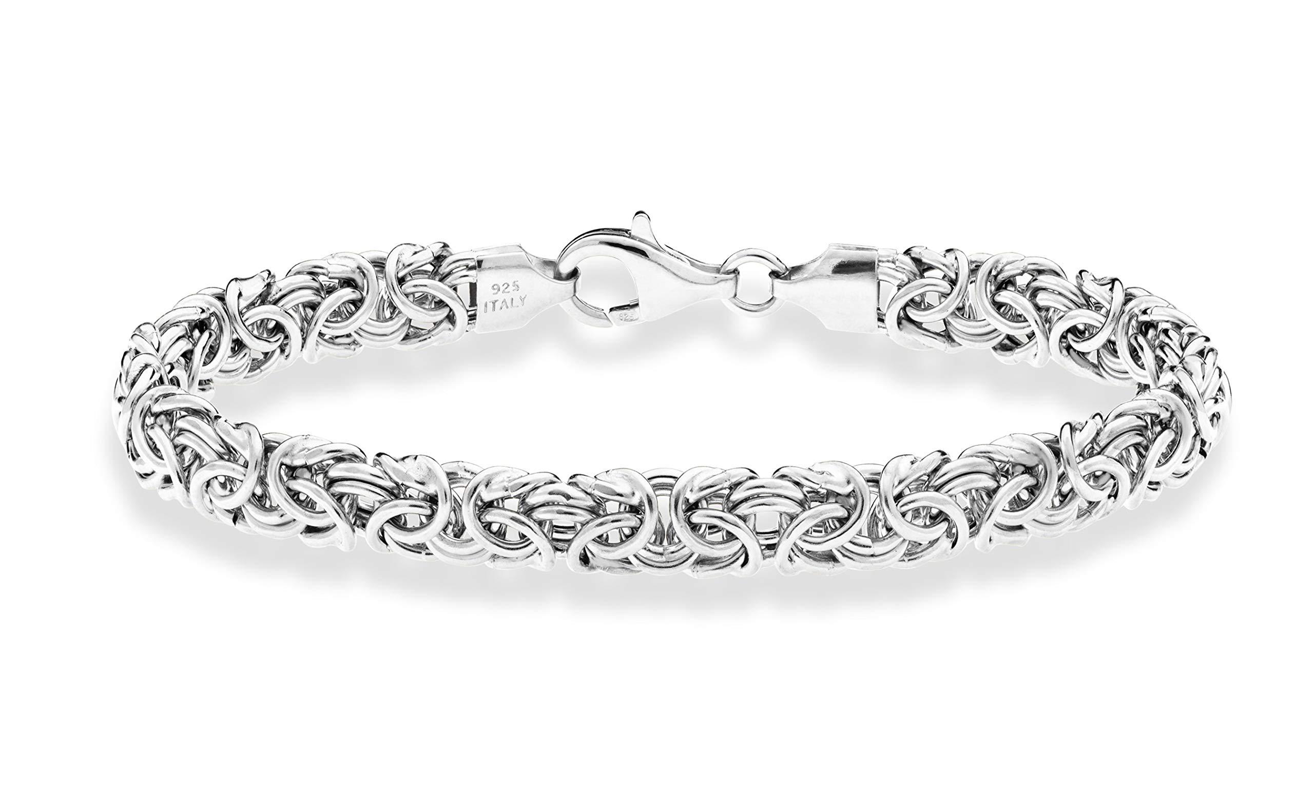 MiaBella 925 Sterling Silver Italian Byzantine Bracelet for Women 6.5, 7, 7.25, 7.5, 8 Inch Handmade in Italy (7.25, Sterling-Silver) by MiaBella