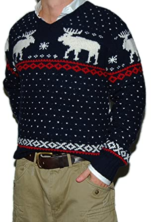 Polo Ralph Lauren Mens Wool Moose Hunting Ski Sweater Hand Knit Navy Red XL