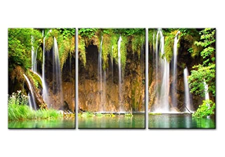 Canvas Print Wall Art Painting For Home Decor Sring Plitvice Lakes National Park National Park In Southeast Europe And The Largest In Croatia Europe Majestic Waterfall With Turquoise Water And Green Forest 3 Pieces Panel Paintings Modern Giclee Stretched And Framed Artwork The Picture For Living Room Decoration Landscape Pictures Photo Prints On Canvas