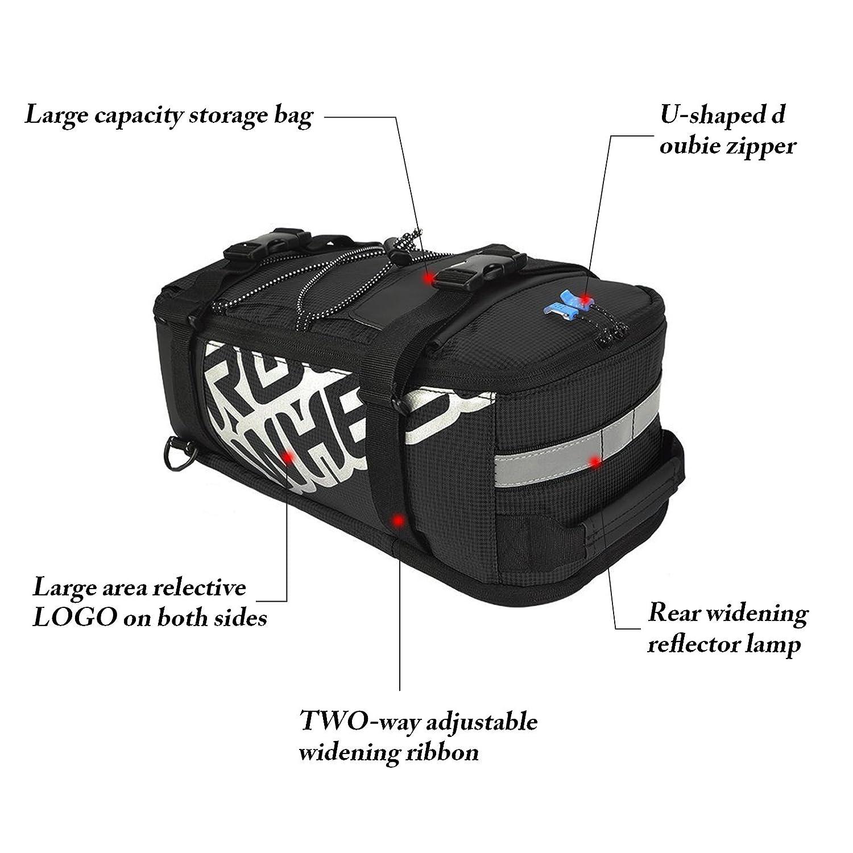 ArcEnCiel 400D Nylon Waterproof Bike Bag Mountain Road Bicycle Bike Bag Cycling Double Side Rear Rack Tail Seat Trunk Bag Pannier Black