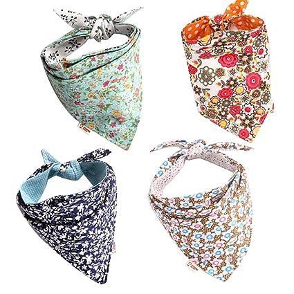 Qchengsan - Paquete de 4 pañuelos de Bandana para Perro, diseño de ...