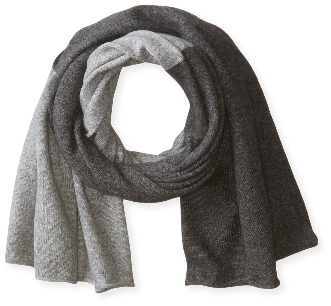 bela.nyc Women's Cashmere Two-Color Scarf, Light Grey Heather/Charcoal Heather, One Size