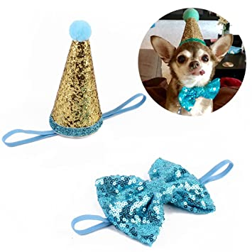 Legendog Dog Birthday Hat Headband Sequins Cone Shaped Cat Costume Pet Party With