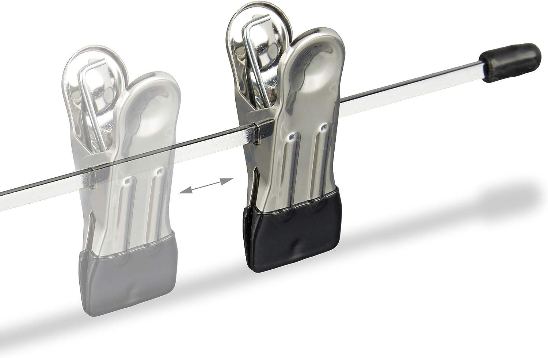 Kleiderb/ügel 10er Set Rockb/ügel Relaxdays Hosenb/ügel Metall Klemmb/ügel verstellbar silber//schwarz HBT 9x35,5x2,5 cm