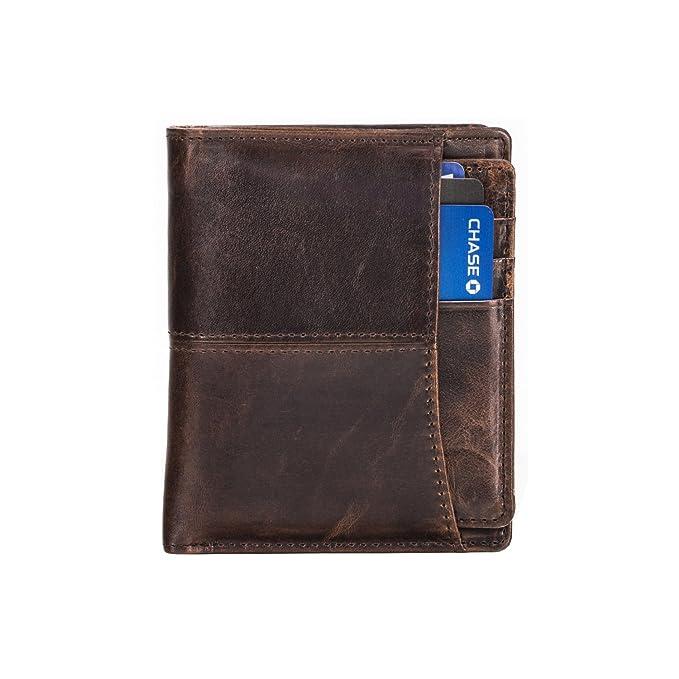 eb7df85fd Cartera plegable clásica de cuero para hombre con almacenamiento extraíble  para tarjetas retro, acabado liso