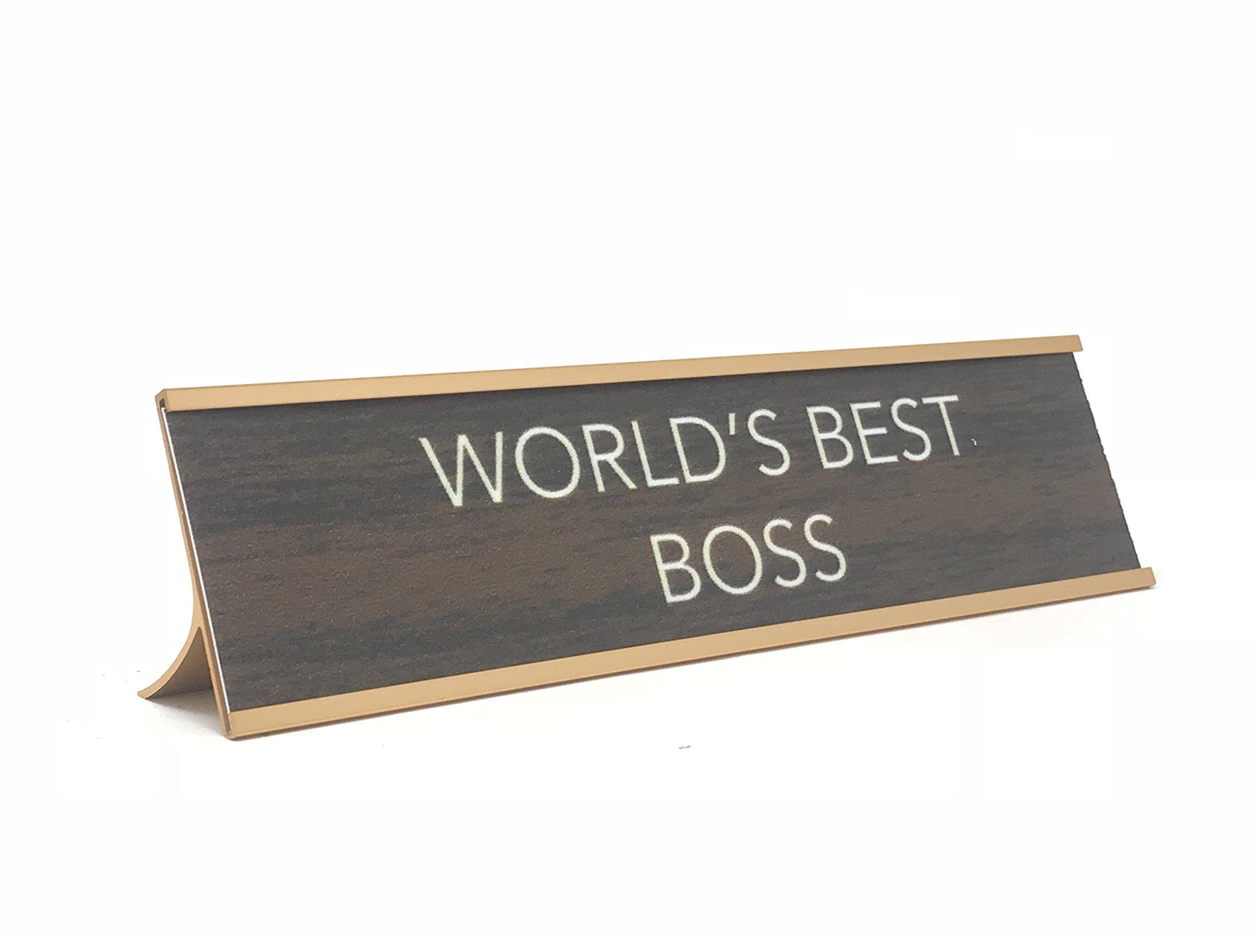 Aahs Engraving ''World's Best. Novelty Nameplate Style Desk Sign (Brown/Gold, World's Best Boss)