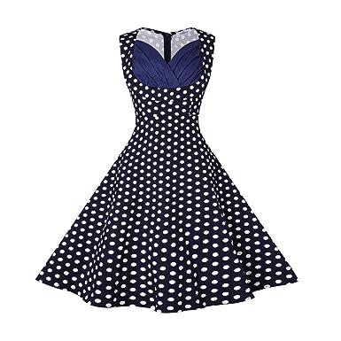 Womens Plus Size Vintage Dot Cut Out V-Neck Casual Party Dresses Rockabilly Christmas Dresses