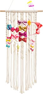 """Dahey Macrame Hair Bow Holder Hair Clips Hanger Headband Storage Organizer for Baby Girls Room Nursery Boho Wall Decor, 17"""" W × 33"""" L(Clips and Other Props Not Included)"""