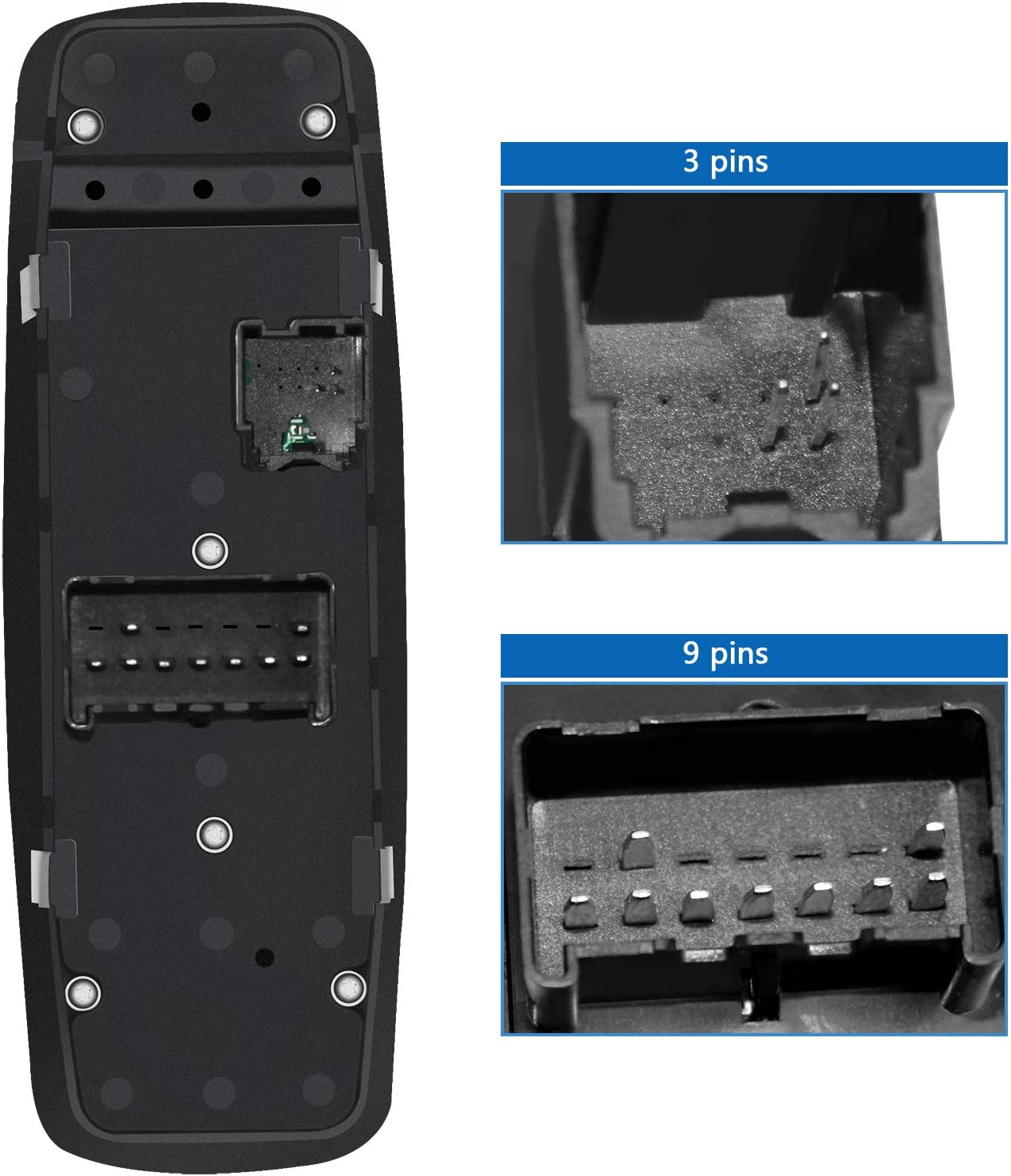 Master Power Window Switch Front Left Driver Side 9+3 Prong Compatible for 2009-2012 Dodge Ram 1500 2500 3500 Replace for 4602863AD 4602863AB 4602863AC