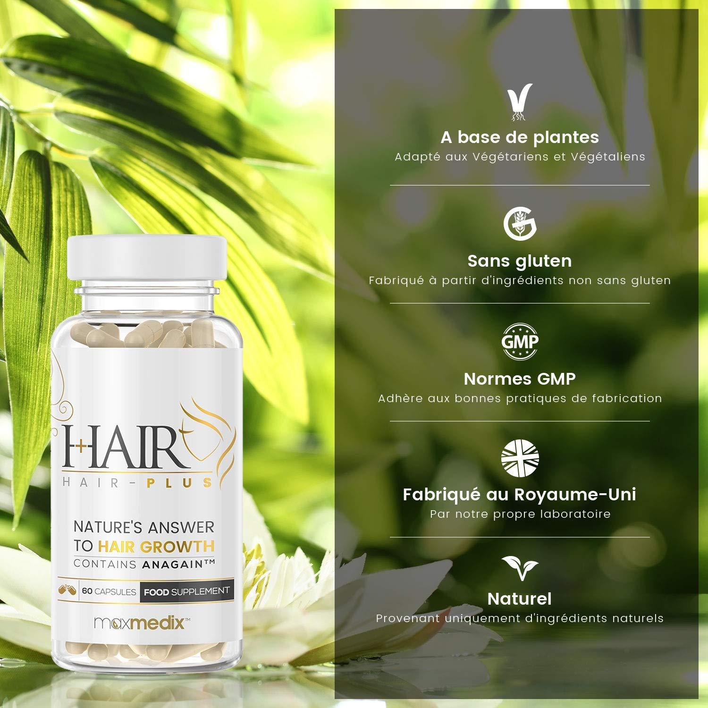 Hair-Plus - Suplemento Para La Caída Del Cabello Con AnaGain - Clínicamente Probado - Estimula El Crecimiento Natural Del Cabello - 60 Cápsulas