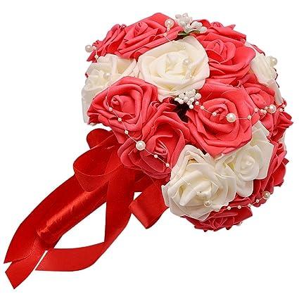 Covermason Fleurs Artificielles Roses Cristal Perles De Demoiselle D Honneur Mariage Bouquet Mariee Fleurs De Soie Artificielle Rouge