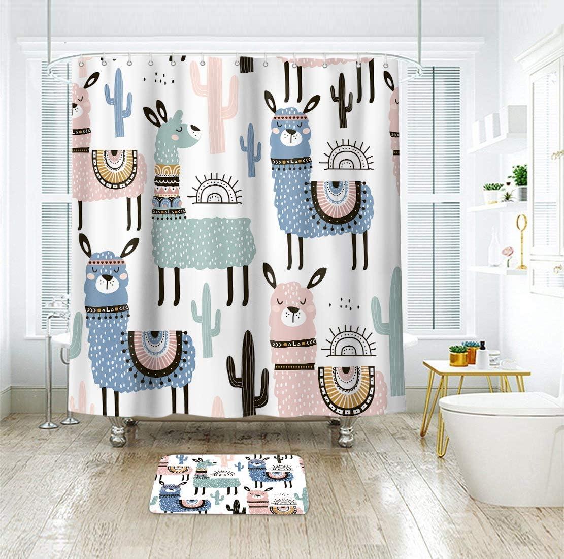 69x70 Inches JAWO Flamingo Shower Curtains for Bathroom Cartoon Design Tropical Bird Flamingo Pink for Kids Pretty Girl Bedroom Decor Waterproof Fabric Shower Curtain Set