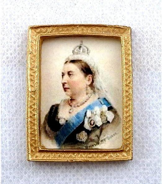 Melody Jane Puppenhaus Miniatur Queen Victoria Portrait Bild IN Gold Rahmen