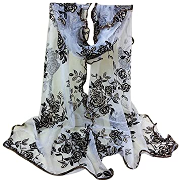 bc79a7a3fce59 Amazon.com: Sothread Fashion Women Soft Rose Floral Printed Scarf Long Shawl  Scarves Wrap Gift (White): Arts, Crafts & Sewing