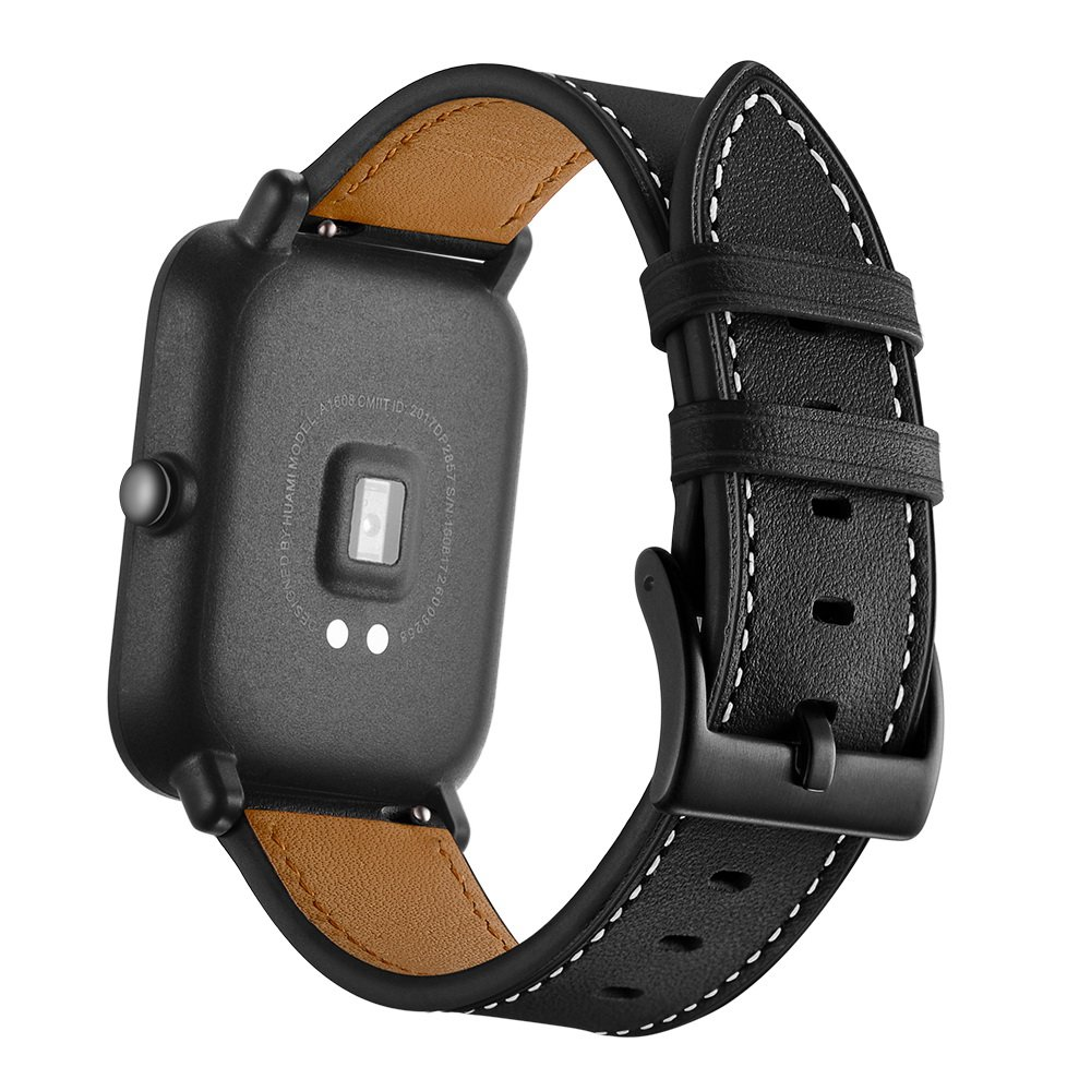 Kartice Compatible with Amazfit Bip Band,Amazfit Bip Bands Leather Strap Replacement Buckle Strap Wrist Band for Amazfit Bip Smartwatch.(Black)